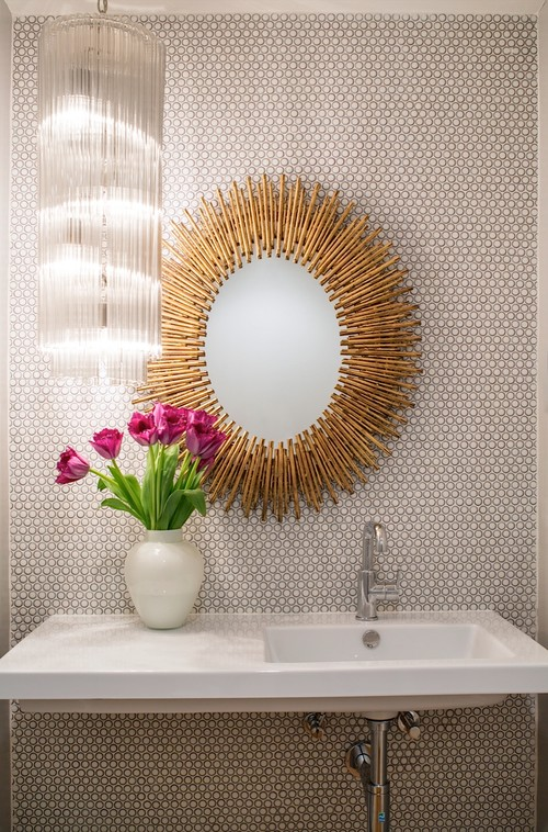 Midcentury Powder Room by Venice Interior Designers & Decorators Shelby Wood Design