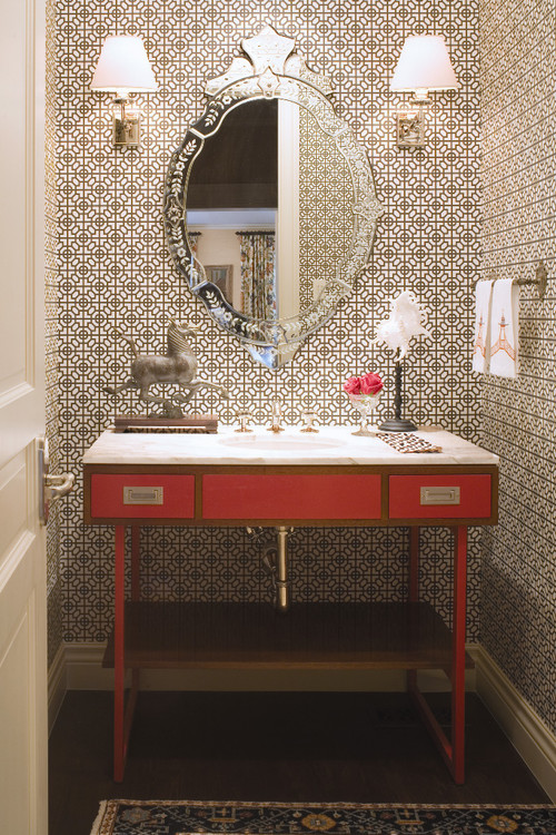 Traditional Powder Room by Denver Interior Designers & Decorators Andrea Schumacher Interiors