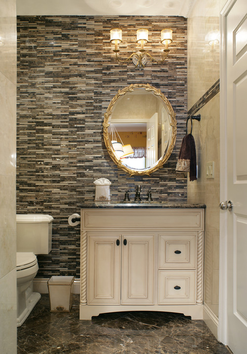 Transitional Powder Room by New York Interior Designers & Decorators Chango & Co.